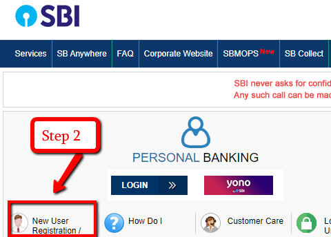 SBI Net Banking Registration for New User