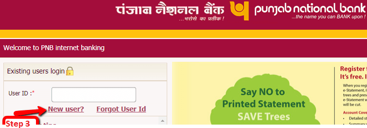 pnb net banking new registration