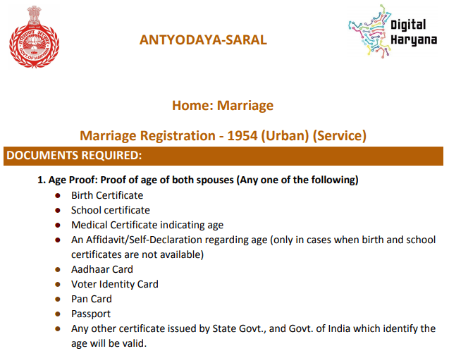 Haryana Marriage Registration Online